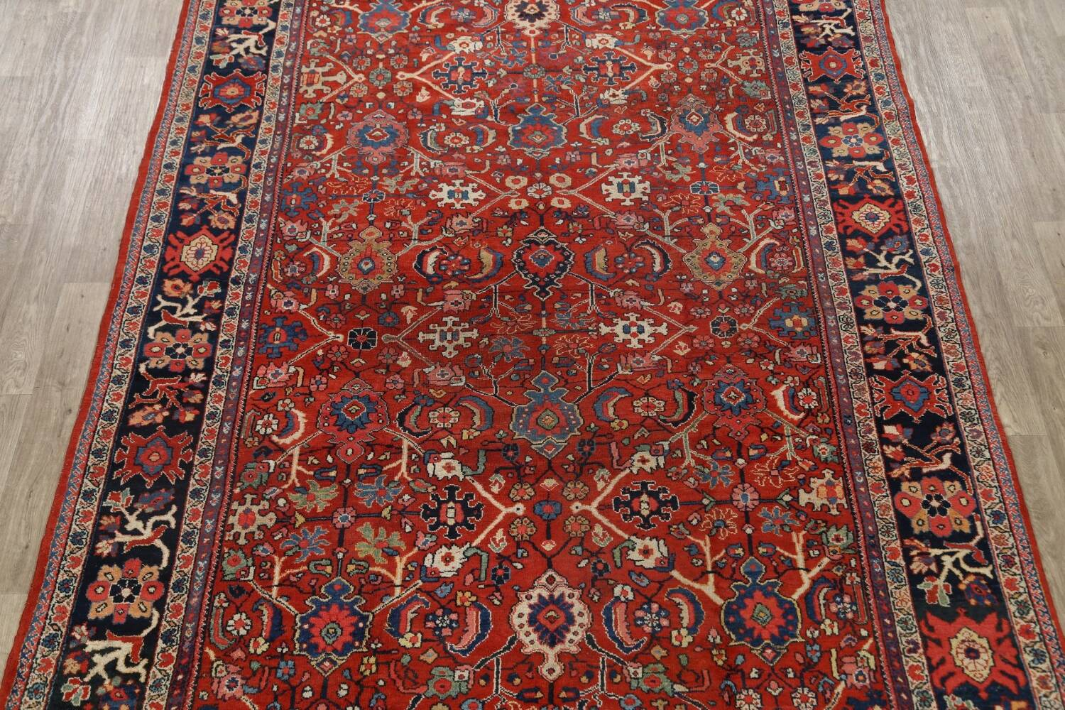 Antique Vegetable Dye Sultanabad Persian Area Rug 9x12 image 3