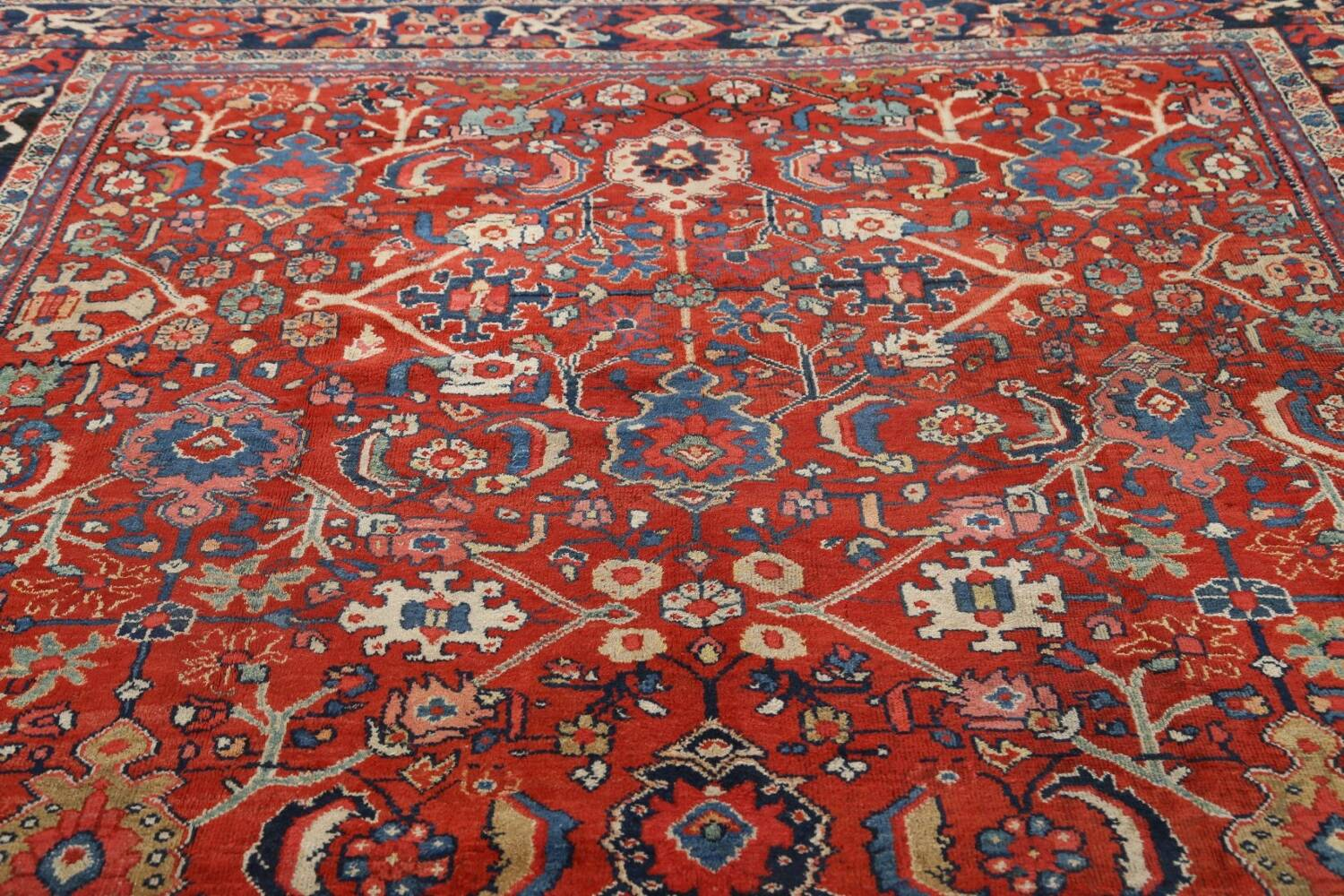 Antique Vegetable Dye Sultanabad Persian Area Rug 9x12 image 11