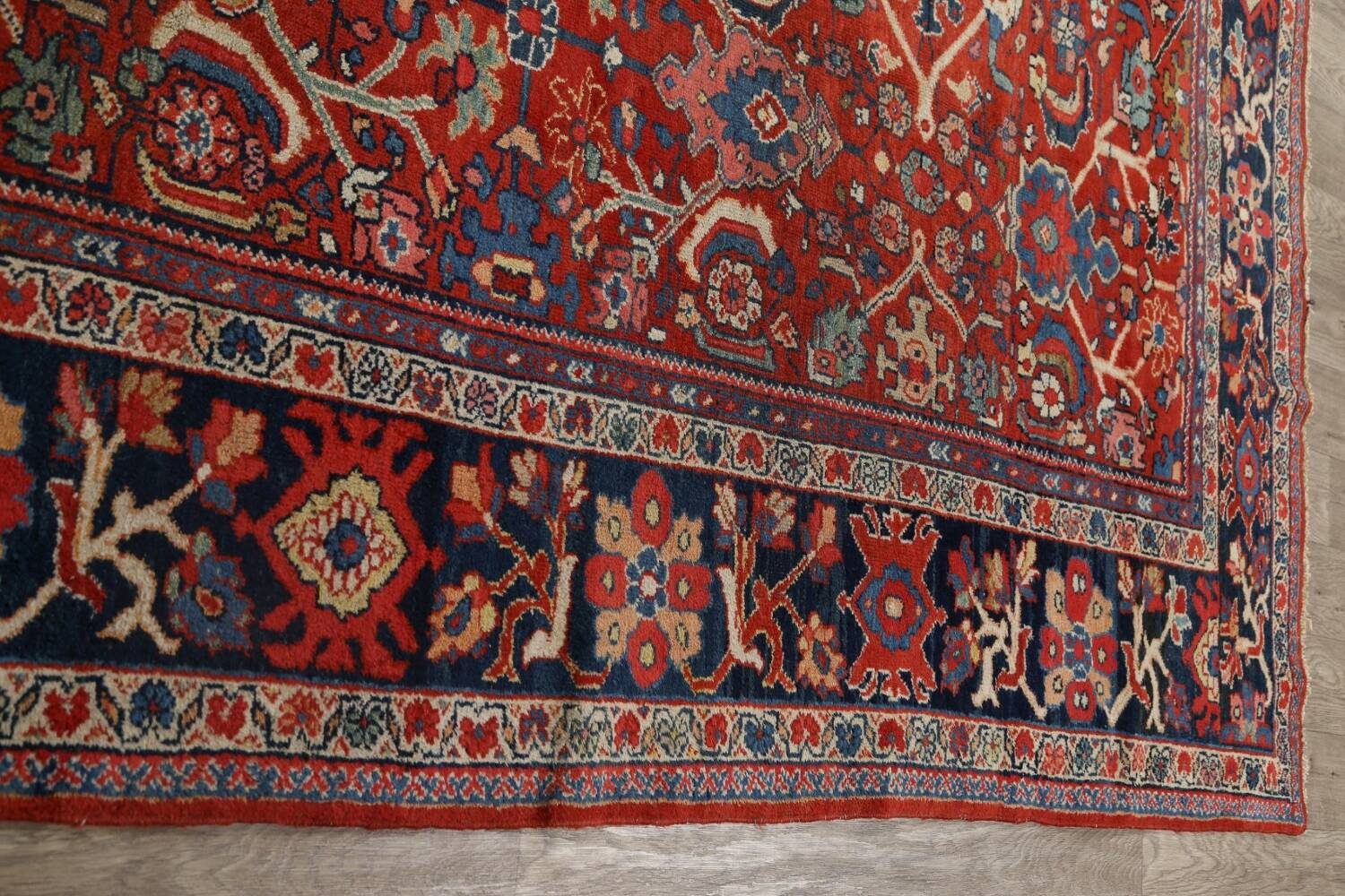 Antique Vegetable Dye Sultanabad Persian Area Rug 9x12 image 12