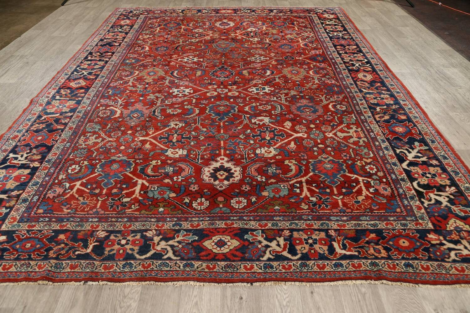 Antique Vegetable Dye Sultanabad Persian Area Rug 9x12 image 14
