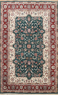 Floral Green Kashan Oriental Area Rug 6x8