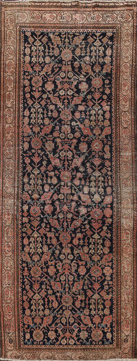 Pre-1900 Antique Vegetable Dye Malayer Persian Runner Rug 3x8