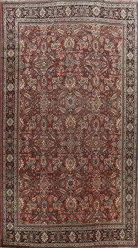 Pre-1900 Antique Vegetable Dye Mahal Persian Area Rug 11x17