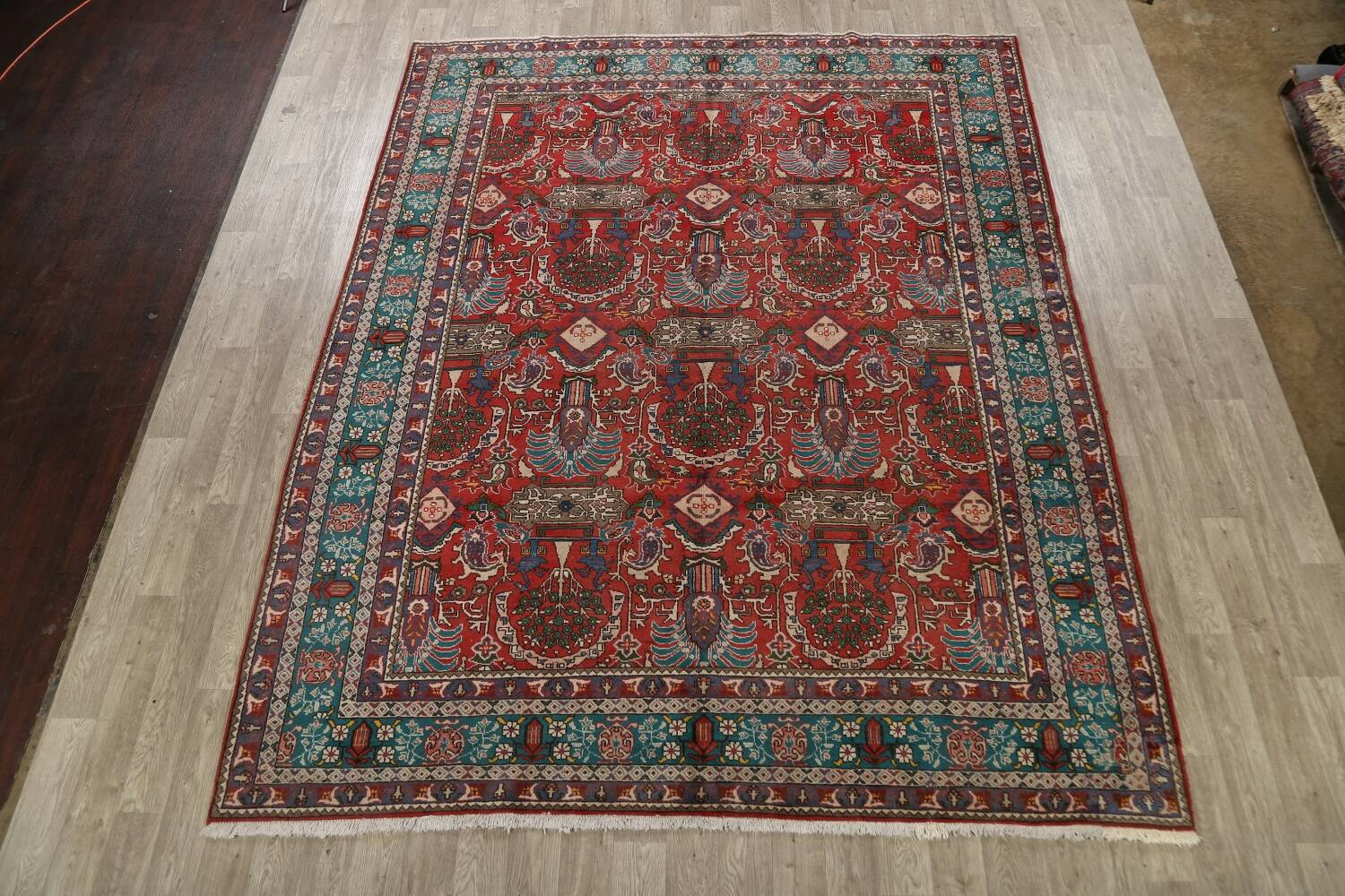 All-Over Pictorial Tabriz Persian Area Rug 9x11 image 2