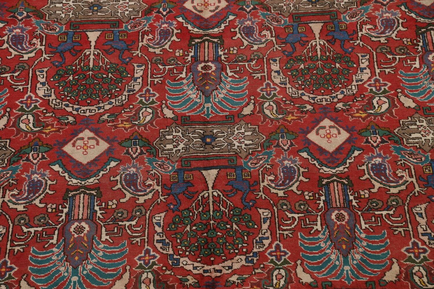 All-Over Pictorial Tabriz Persian Area Rug 9x11 image 4