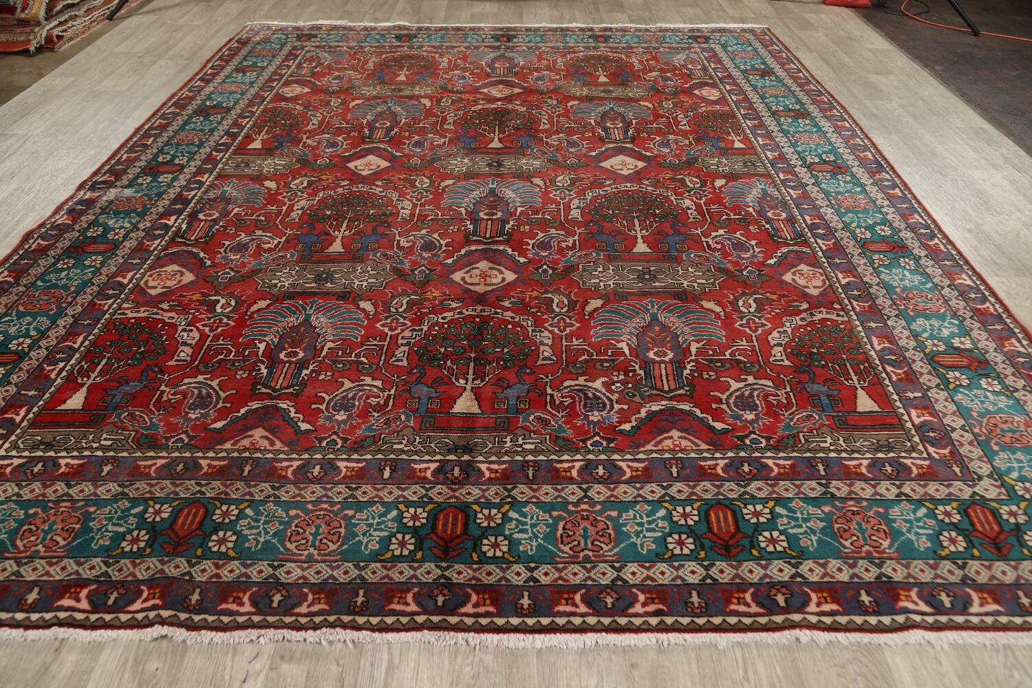 All-Over Pictorial Tabriz Persian Area Rug 9x11 image 21