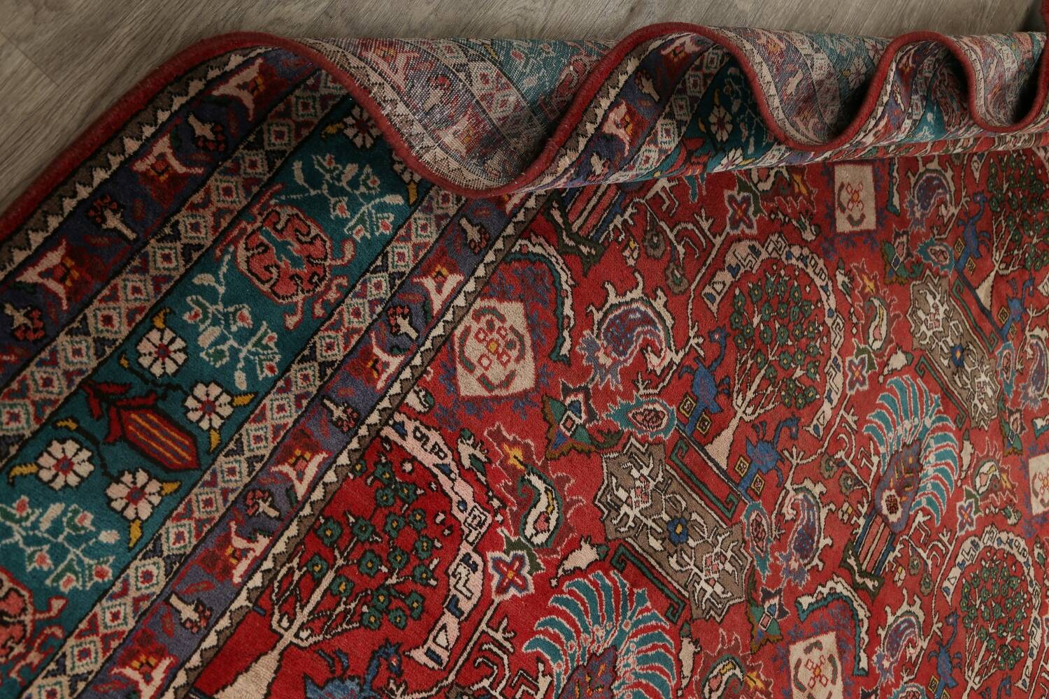 All-Over Pictorial Tabriz Persian Area Rug 9x11 image 23