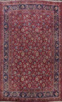 Antique Floral Vegetable Dye Mashad Persian Area Rug 10x13