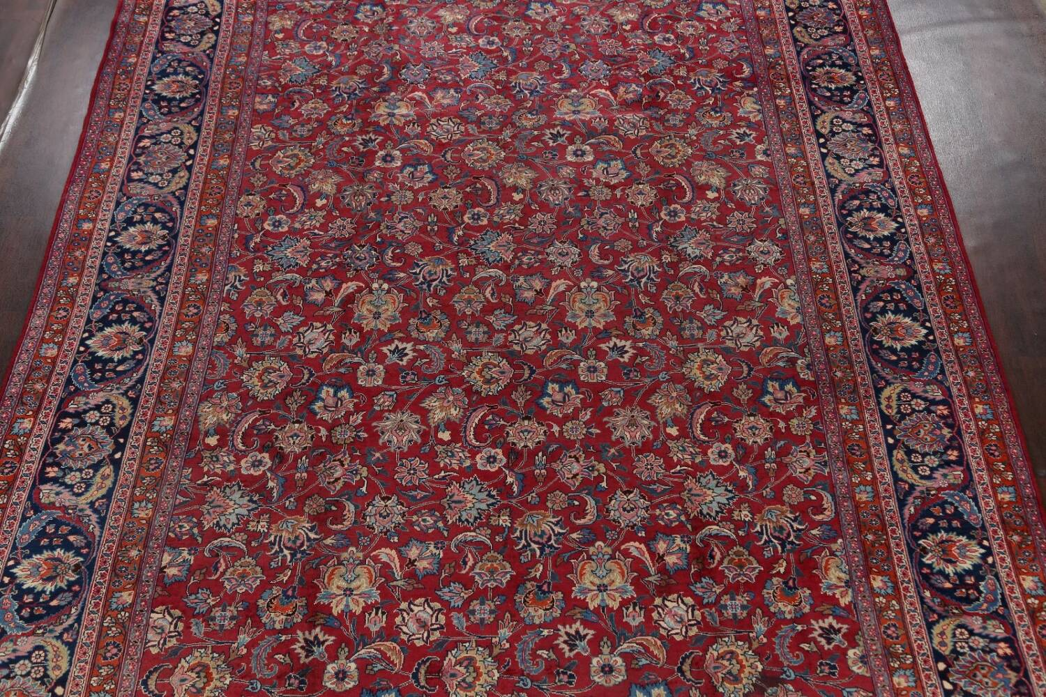 Antique Floral Vegetable Dye Mashad Persian Area Rug 10x13 image 3