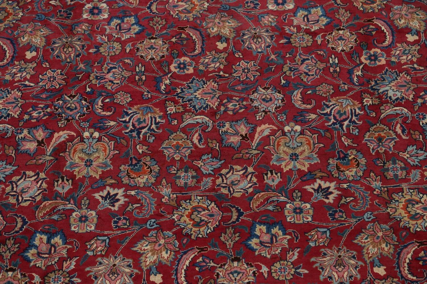 Antique Floral Vegetable Dye Mashad Persian Area Rug 10x13 image 4