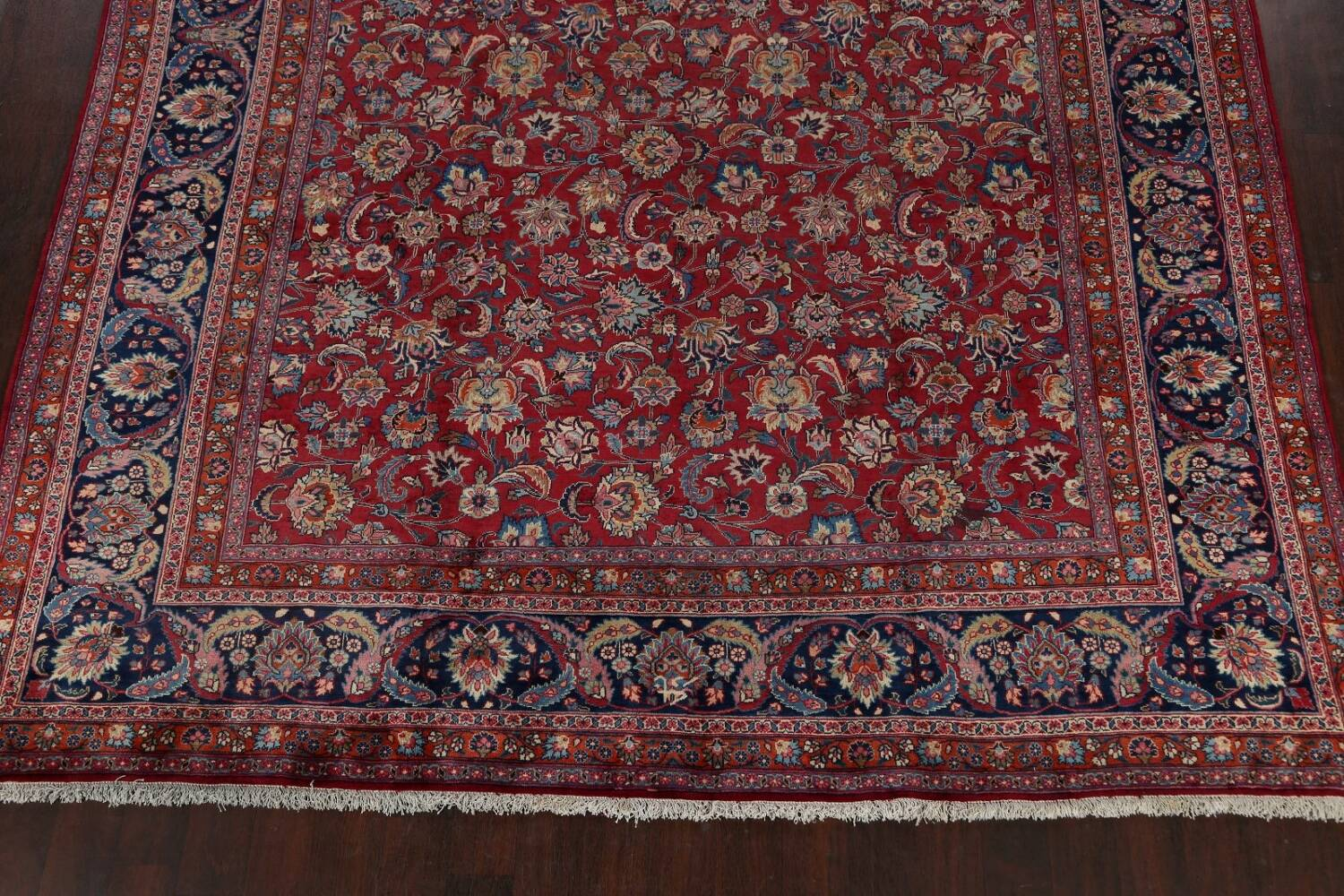 Antique Floral Vegetable Dye Mashad Persian Area Rug 10x13 image 8