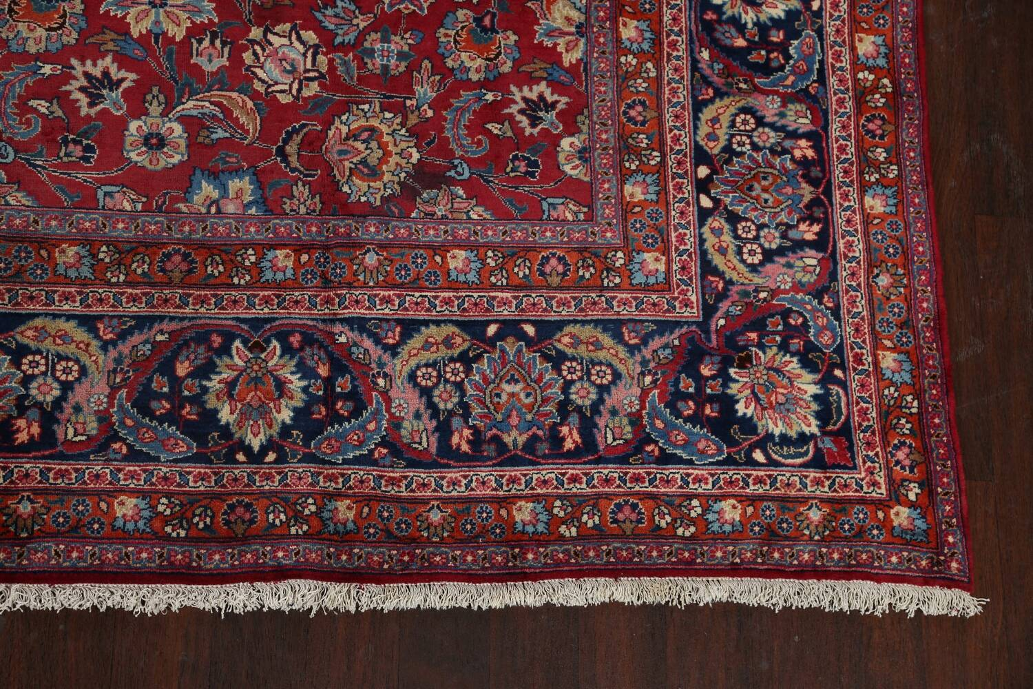 Antique Floral Vegetable Dye Mashad Persian Area Rug 10x13 image 5