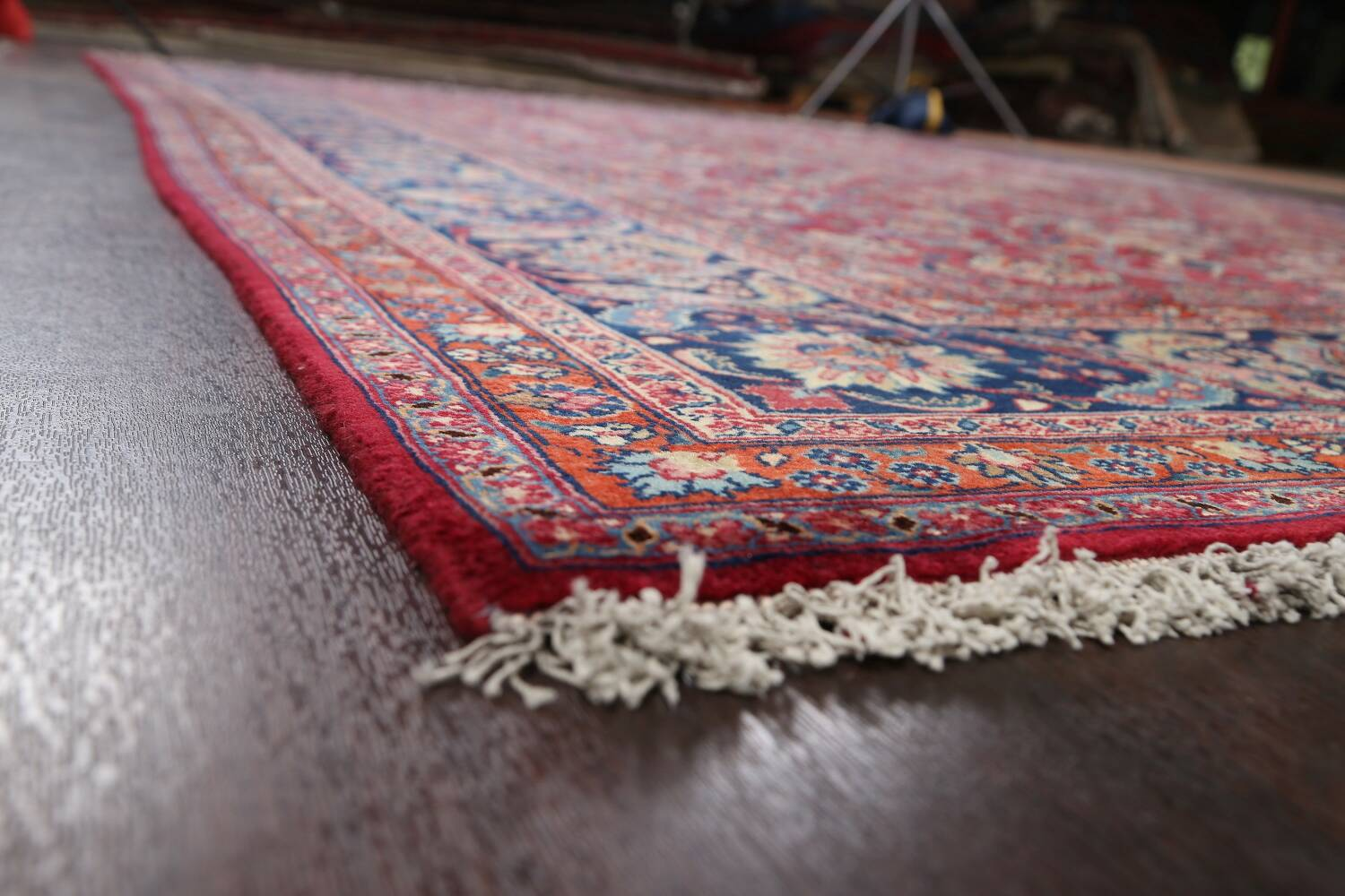 Antique Floral Vegetable Dye Mashad Persian Area Rug 10x13 image 6