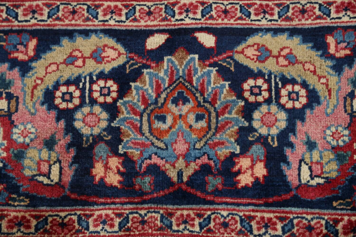 Antique Floral Vegetable Dye Mashad Persian Area Rug 10x13 image 9