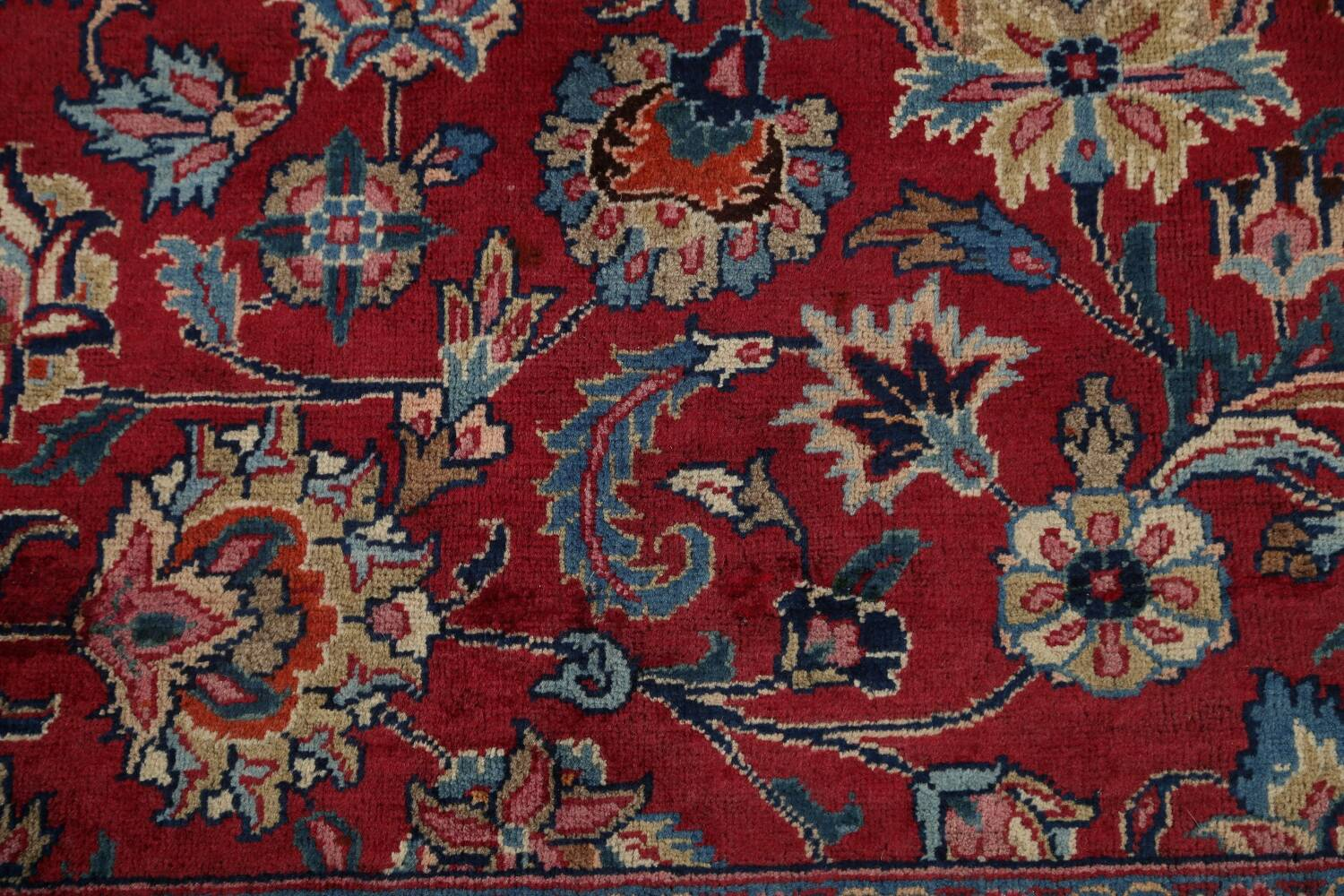 Antique Floral Vegetable Dye Mashad Persian Area Rug 10x13 image 10