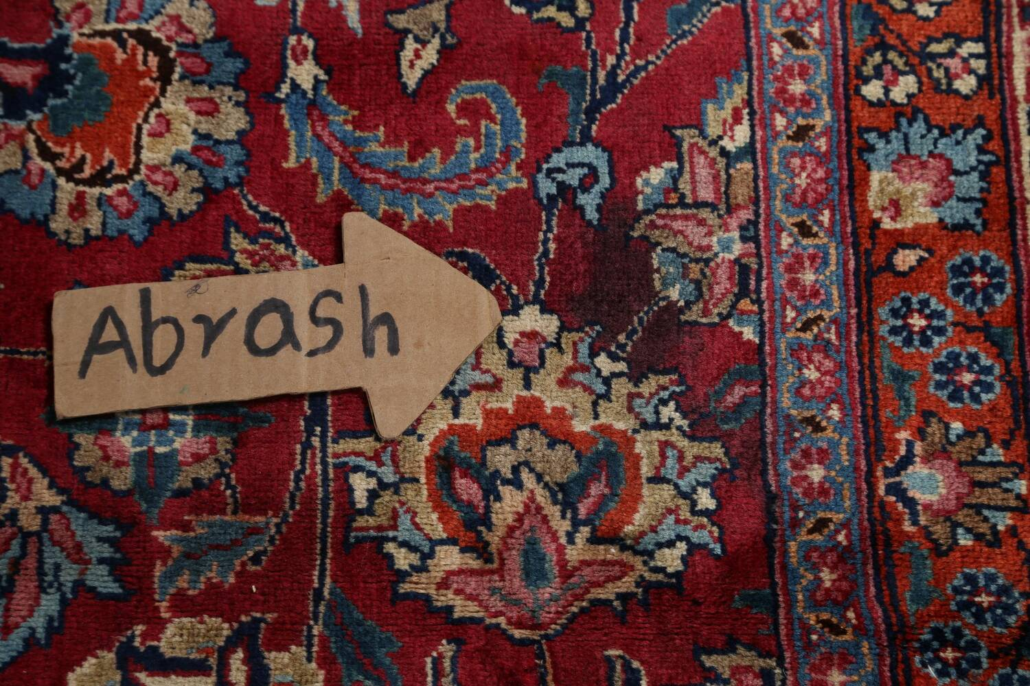 Antique Floral Vegetable Dye Mashad Persian Area Rug 10x13 image 12