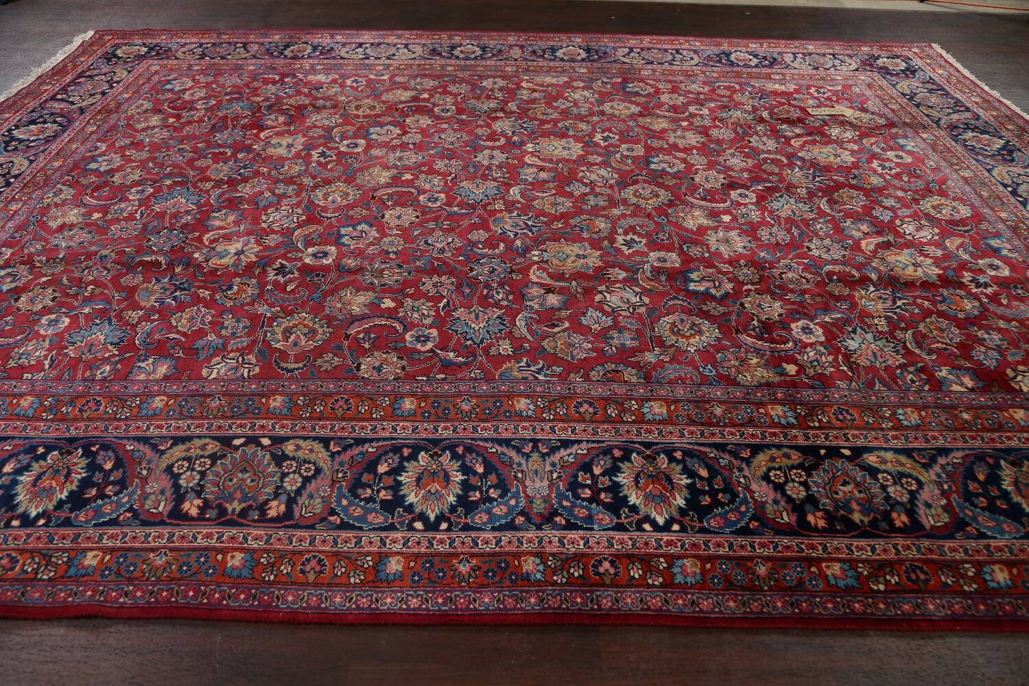 Antique Floral Vegetable Dye Mashad Persian Area Rug 10x13 image 13