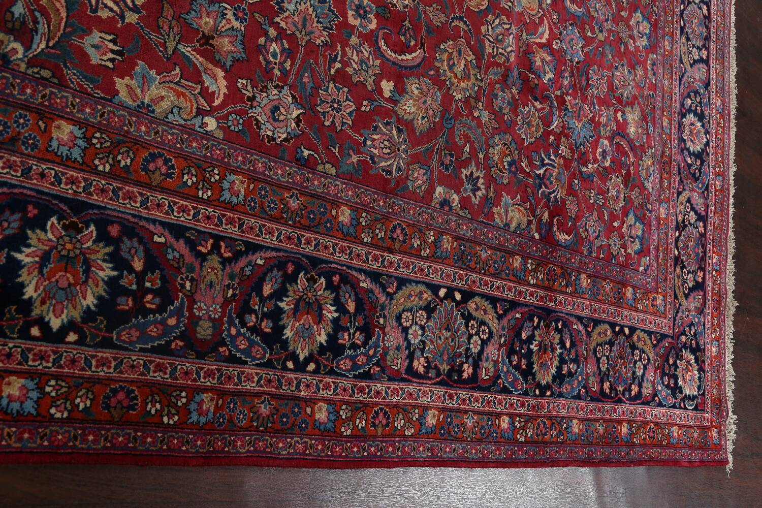 Antique Floral Vegetable Dye Mashad Persian Area Rug 10x13 image 17