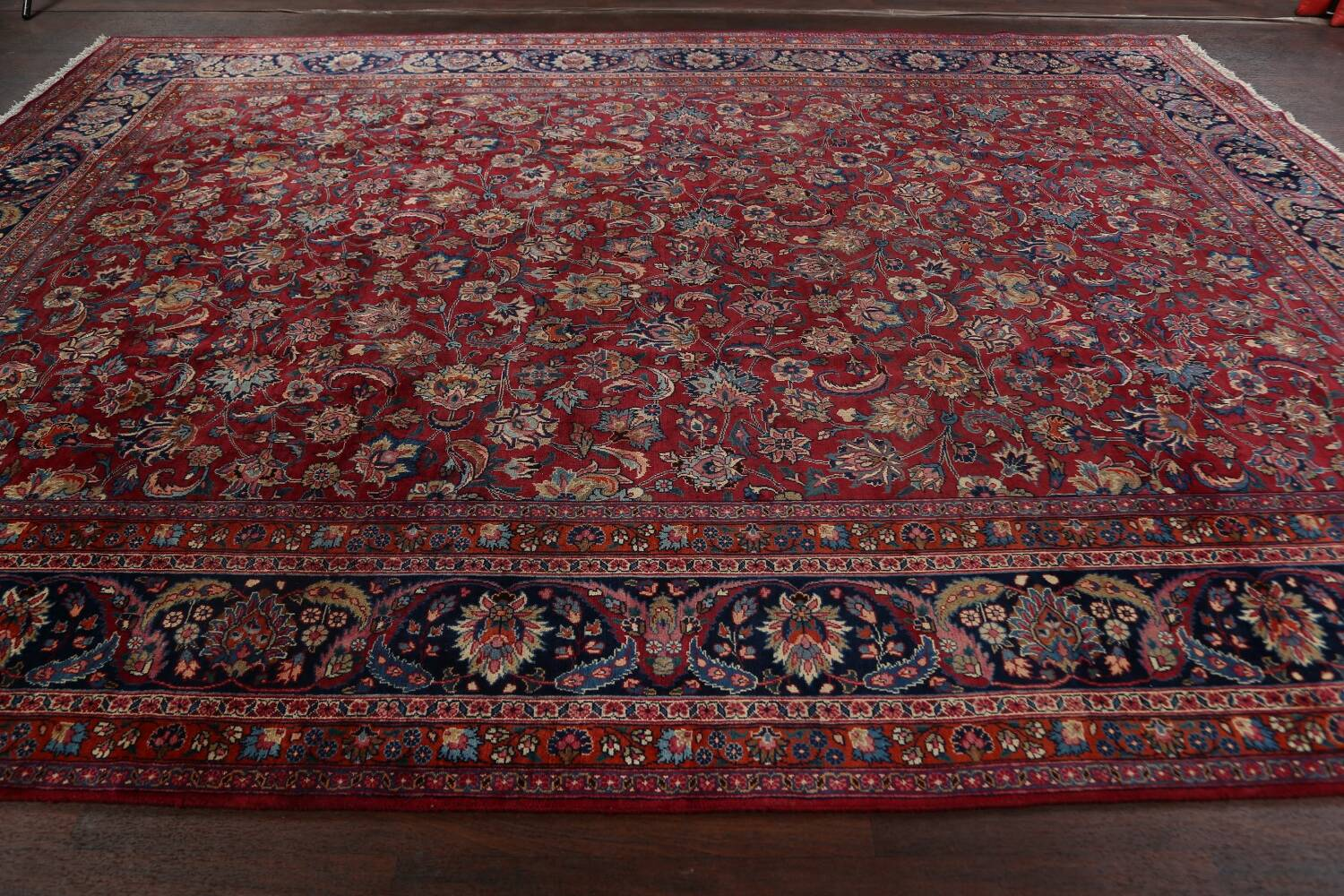 Antique Floral Vegetable Dye Mashad Persian Area Rug 10x13 image 18