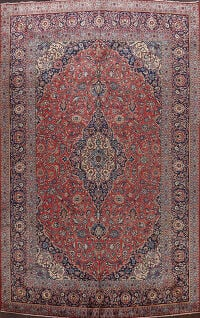 Antique Vegetable Dye Kashan Persian Area Rug 10x14