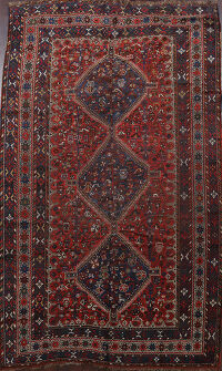 Pre-1900 Antique Vegetable Dye Qashqai Persian Area Rug 7x10