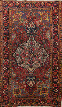 Pre-1900 Antique Vegetable Dye Bakhtiari Persian Rug 5x7
