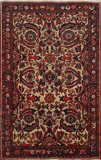 Antique Vegetable Dye Bakhtiari Persian Area Rug 5x6