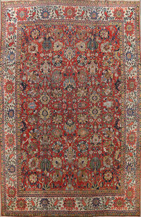 Pre-1900 Vegetable Dye Sultanabad Persian Area Rug 10x13