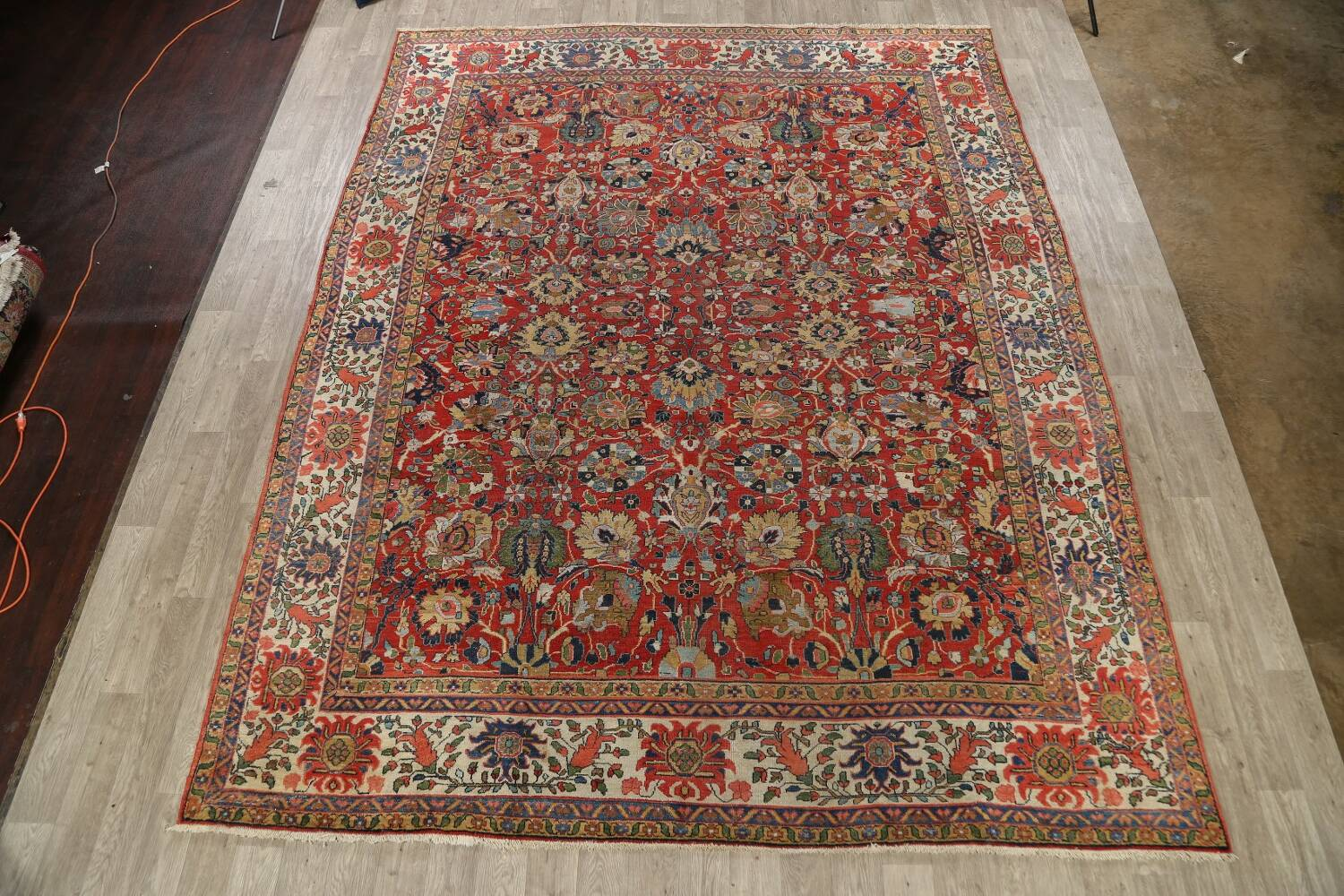 Pre-1900 Vegetable Dye Sultanabad Persian Area Rug 10x13 image 2
