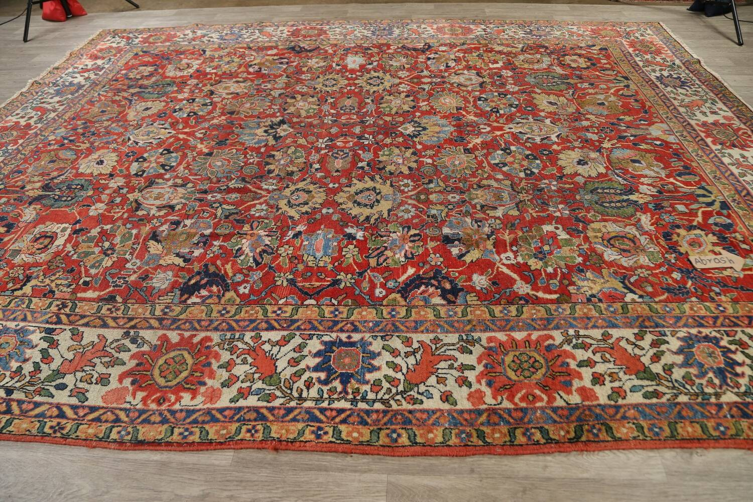 Pre-1900 Vegetable Dye Sultanabad Persian Area Rug 10x13 image 15