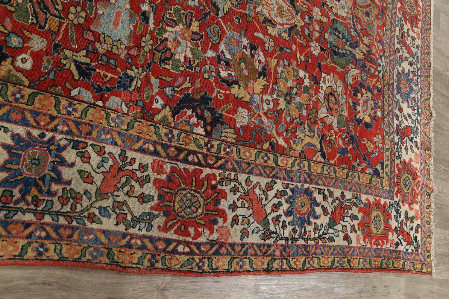 Pre-1900 Vegetable Dye Sultanabad Persian Area Rug 10x13 image 16