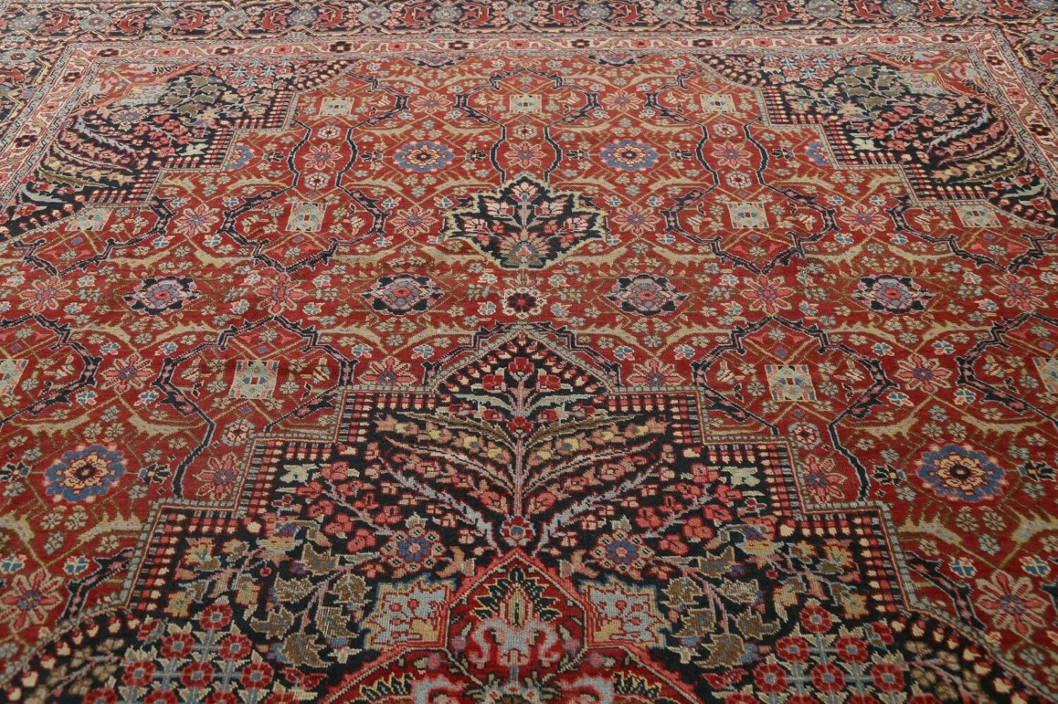 Pre-1900 Antique Sultanabad Persian Area Rug 11x13 Large image 13