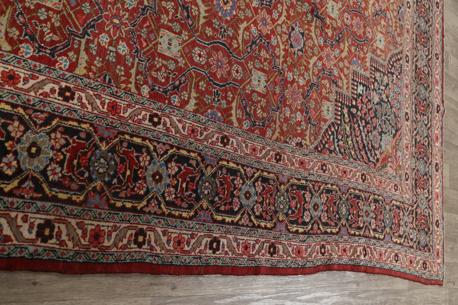 Pre-1900 Antique Sultanabad Persian Area Rug 11x13 Large image 14