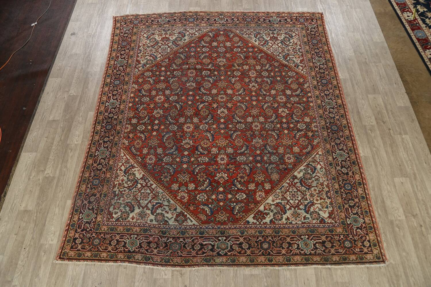 Pre-1900 Vegetable Dye Sultanabad Persian Area Rug 9x11 image 2