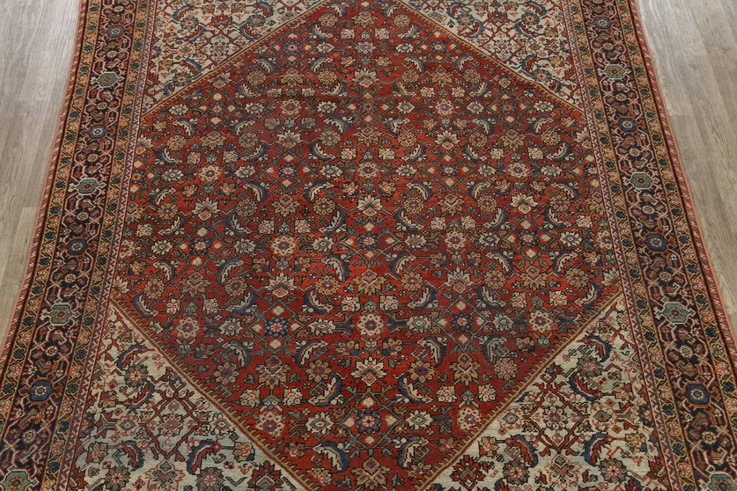 Pre-1900 Vegetable Dye Sultanabad Persian Area Rug 9x11 image 3