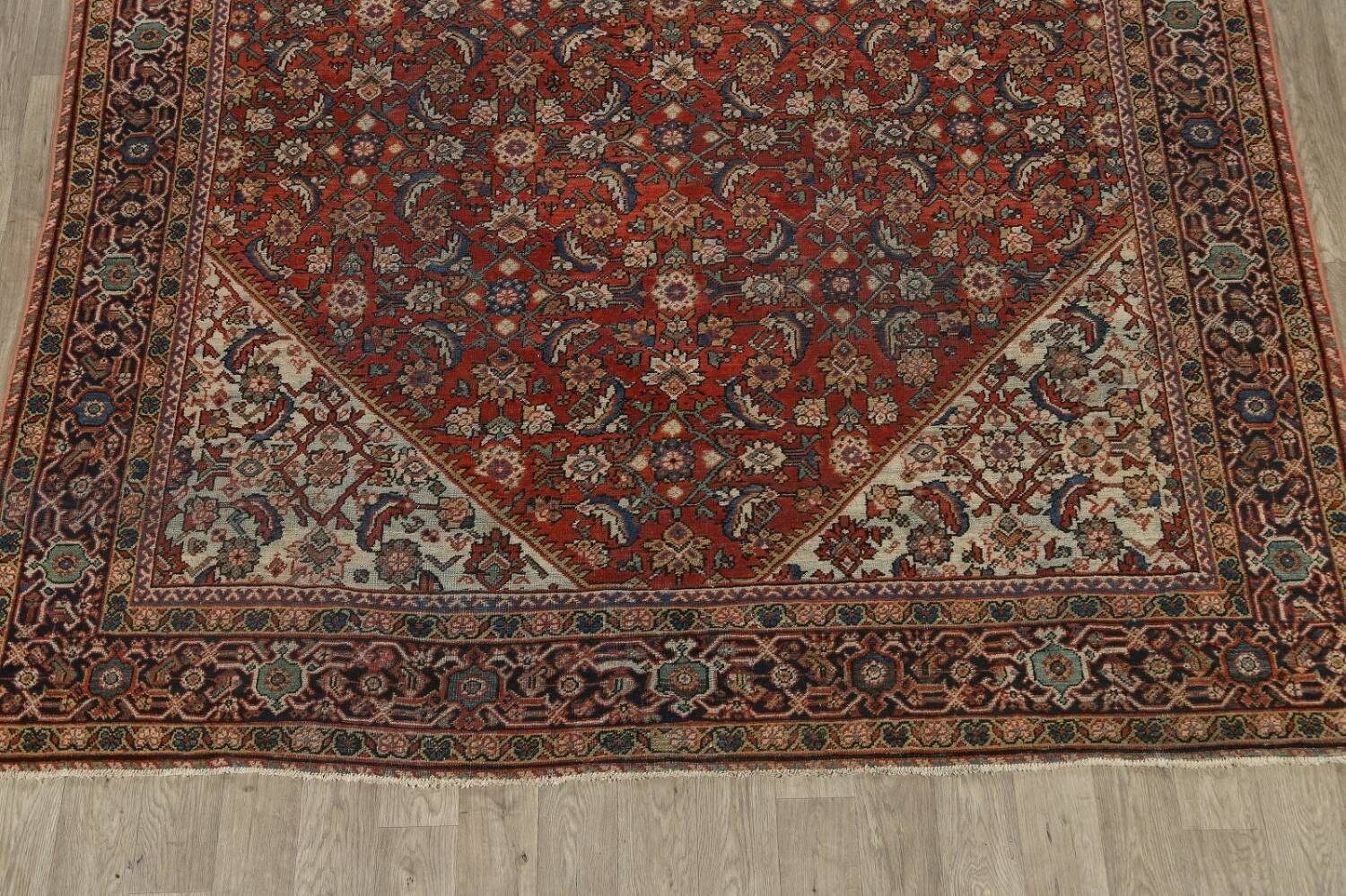 Pre-1900 Vegetable Dye Sultanabad Persian Area Rug 9x11 image 8