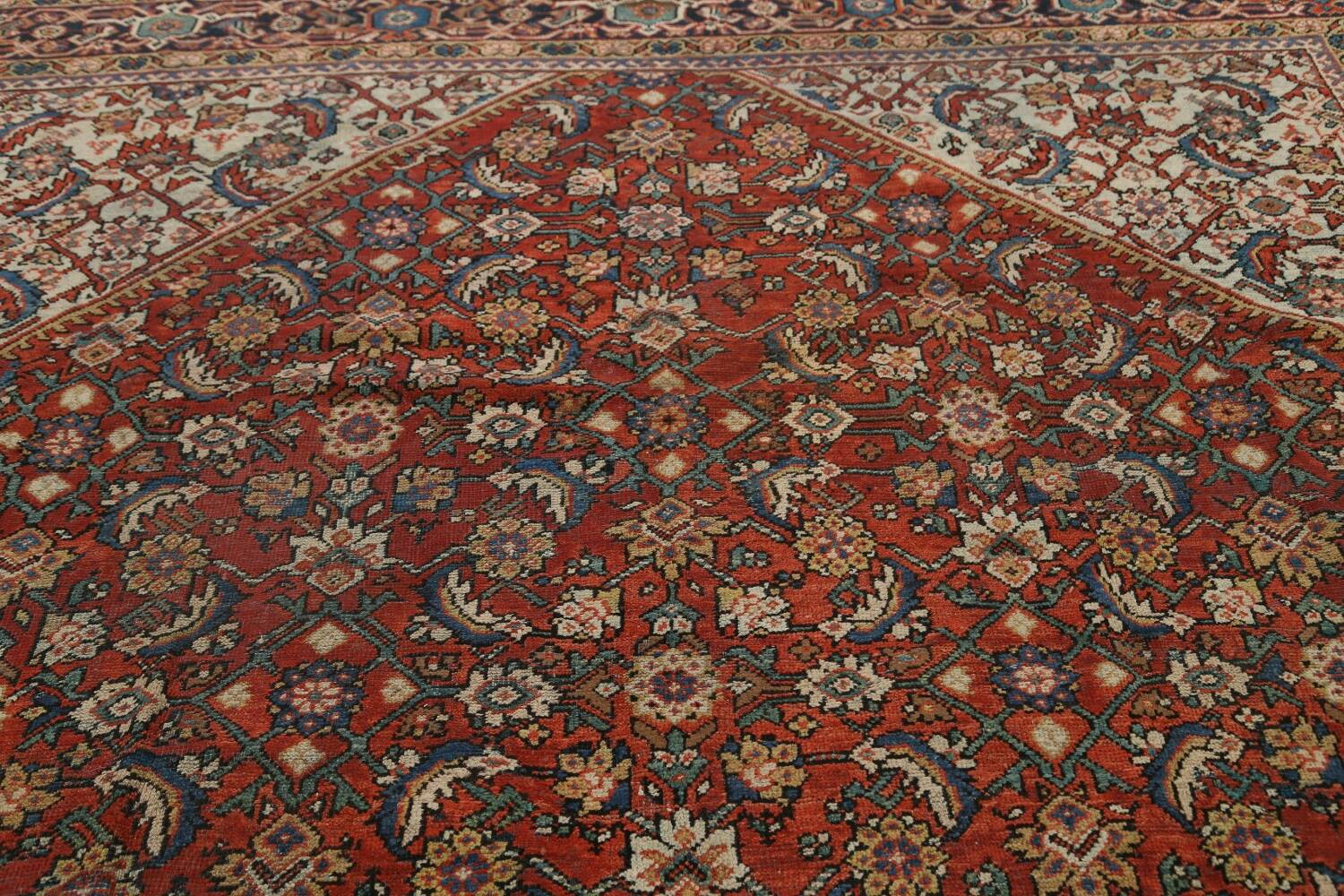 Pre-1900 Vegetable Dye Sultanabad Persian Area Rug 9x11 image 12
