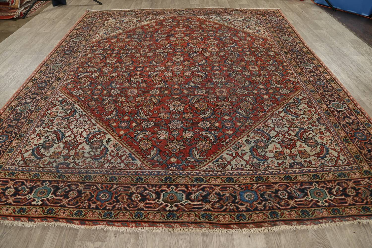 Pre-1900 Vegetable Dye Sultanabad Persian Area Rug 9x11 image 15