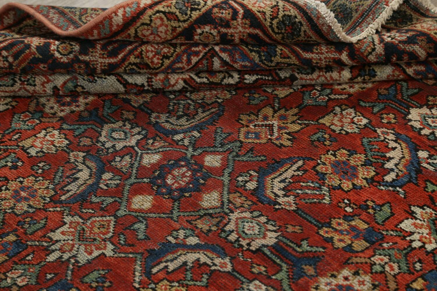 Pre-1900 Vegetable Dye Sultanabad Persian Area Rug 9x11 image 16