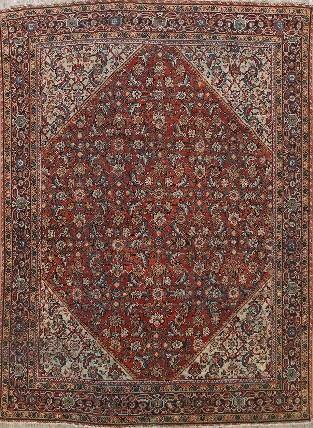 Pre-1900 Vegetable Dye Sultanabad Persian Area Rug 9x11 image 1