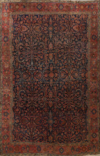 Pre-1900 Antique Vegetable Dye Lilian Persian Area Rug 9x11