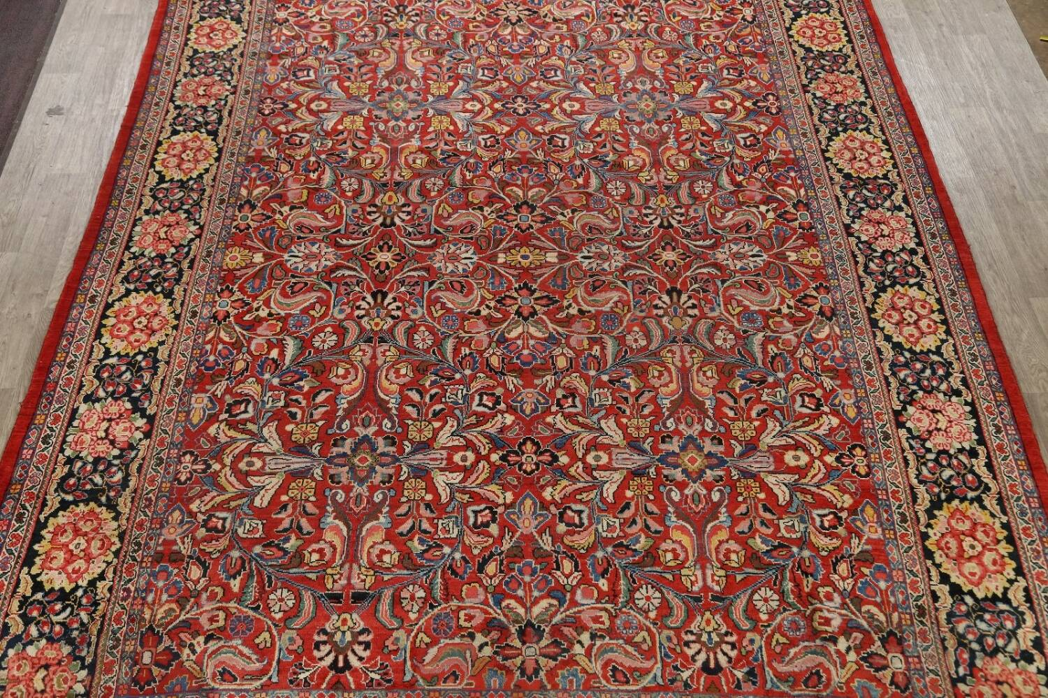Antique Vegetable Dye Sultanabad Persian Area Rug 10x14 image 3