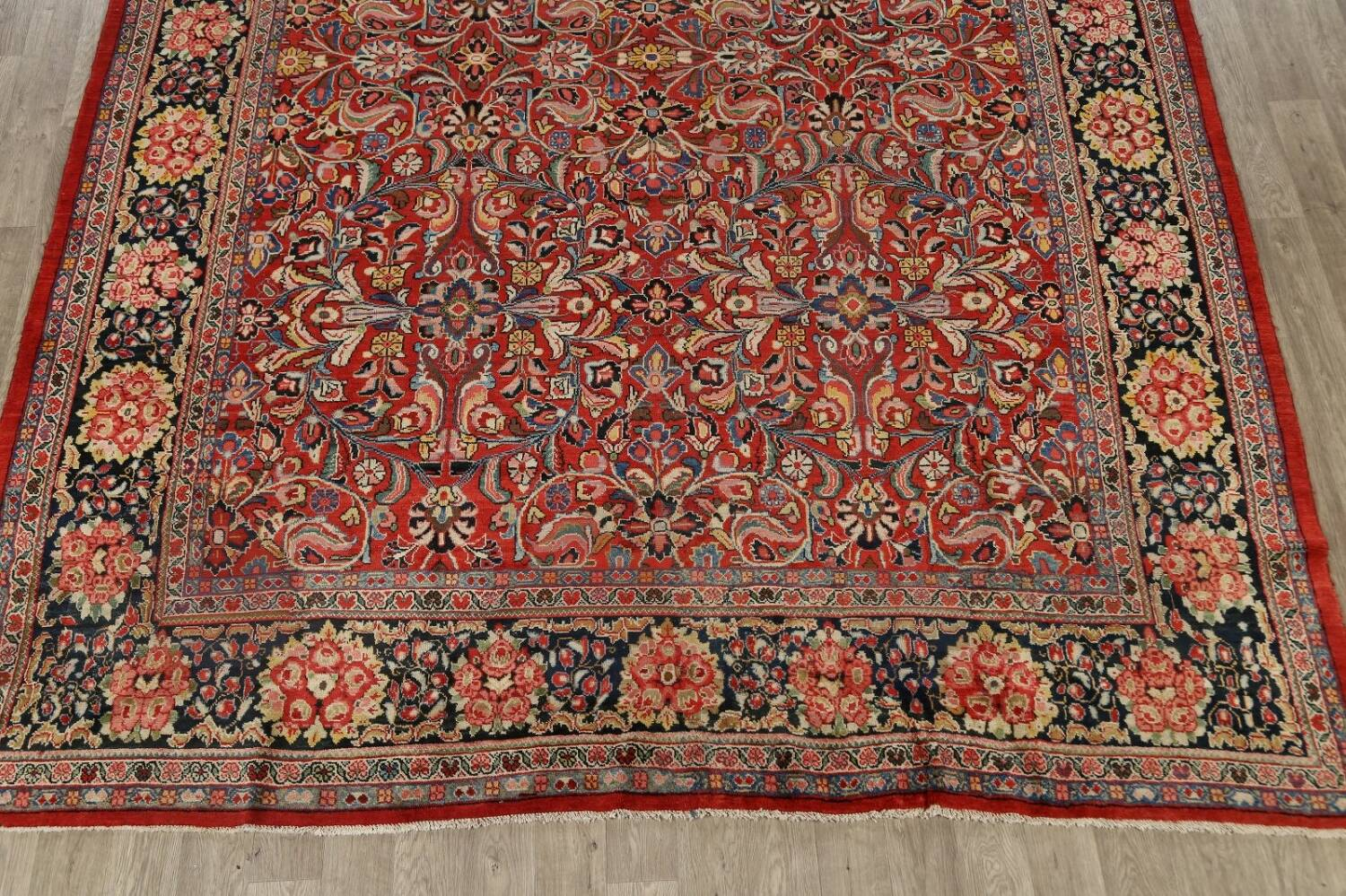 Antique Vegetable Dye Sultanabad Persian Area Rug 10x14 image 8