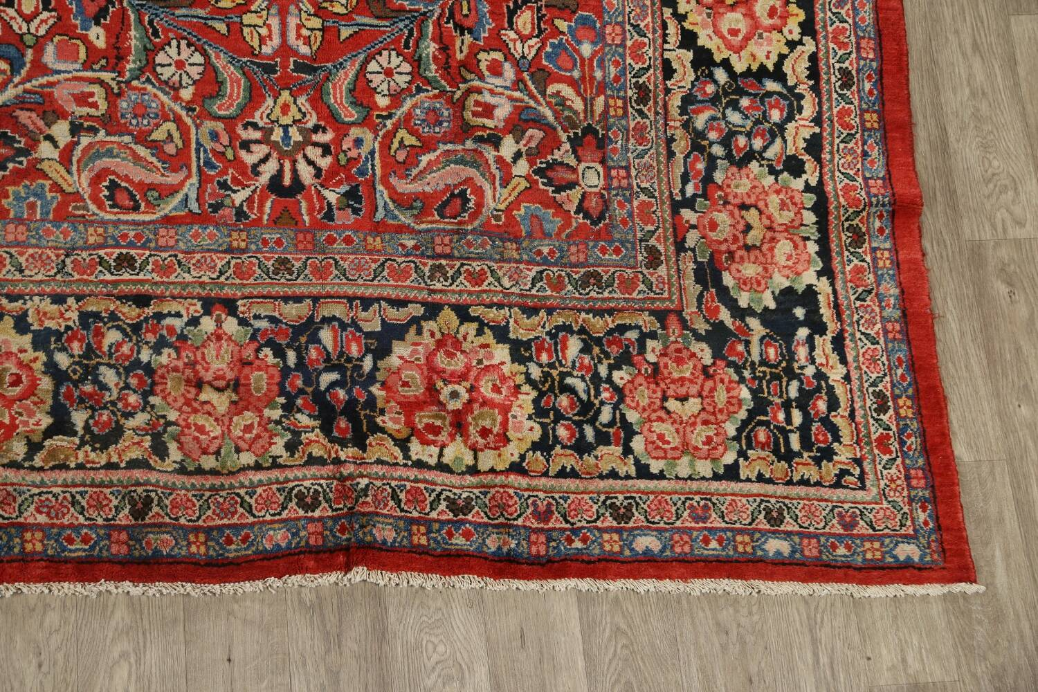 Antique Vegetable Dye Sultanabad Persian Area Rug 10x14 image 5
