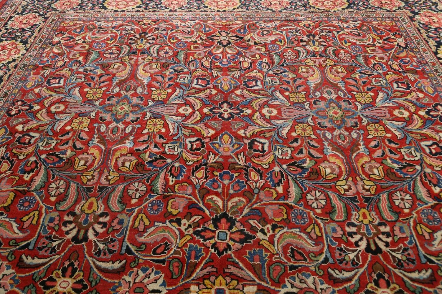 Antique Vegetable Dye Sultanabad Persian Area Rug 10x14 image 17