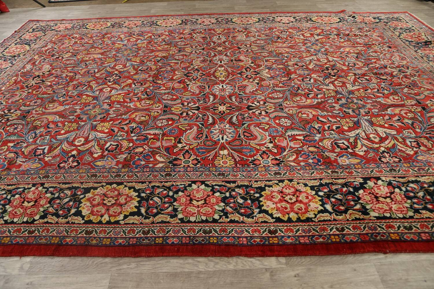 Antique Vegetable Dye Sultanabad Persian Area Rug 10x14 image 14