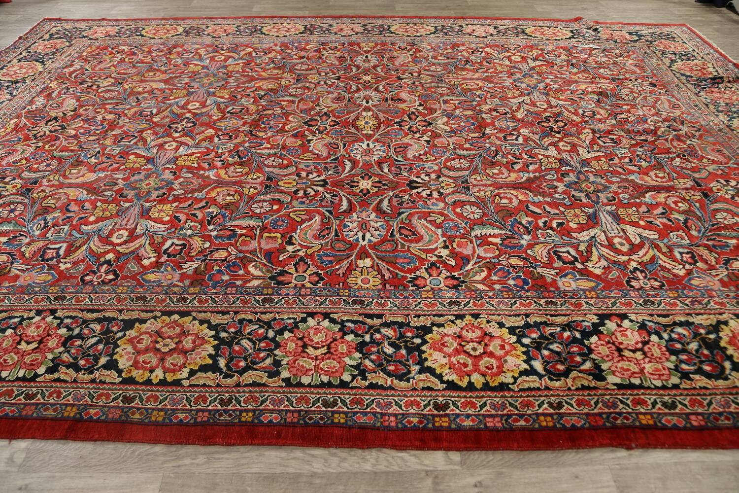 Antique Vegetable Dye Sultanabad Persian Area Rug 10x14 image 16