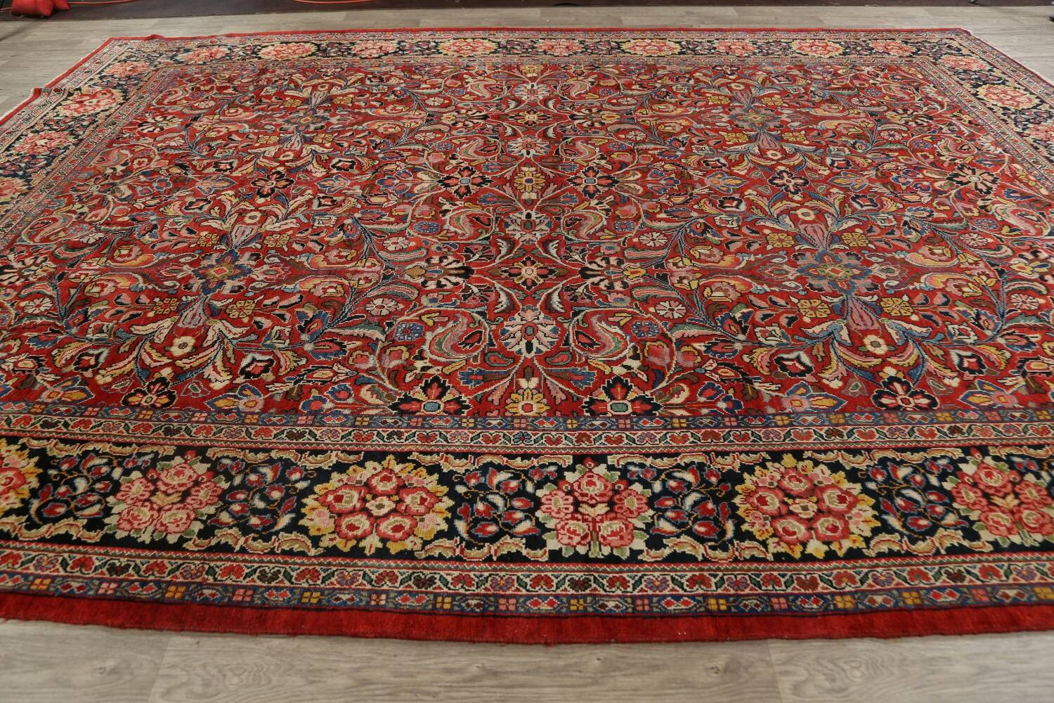 Antique Vegetable Dye Sultanabad Persian Area Rug 10x14 image 19