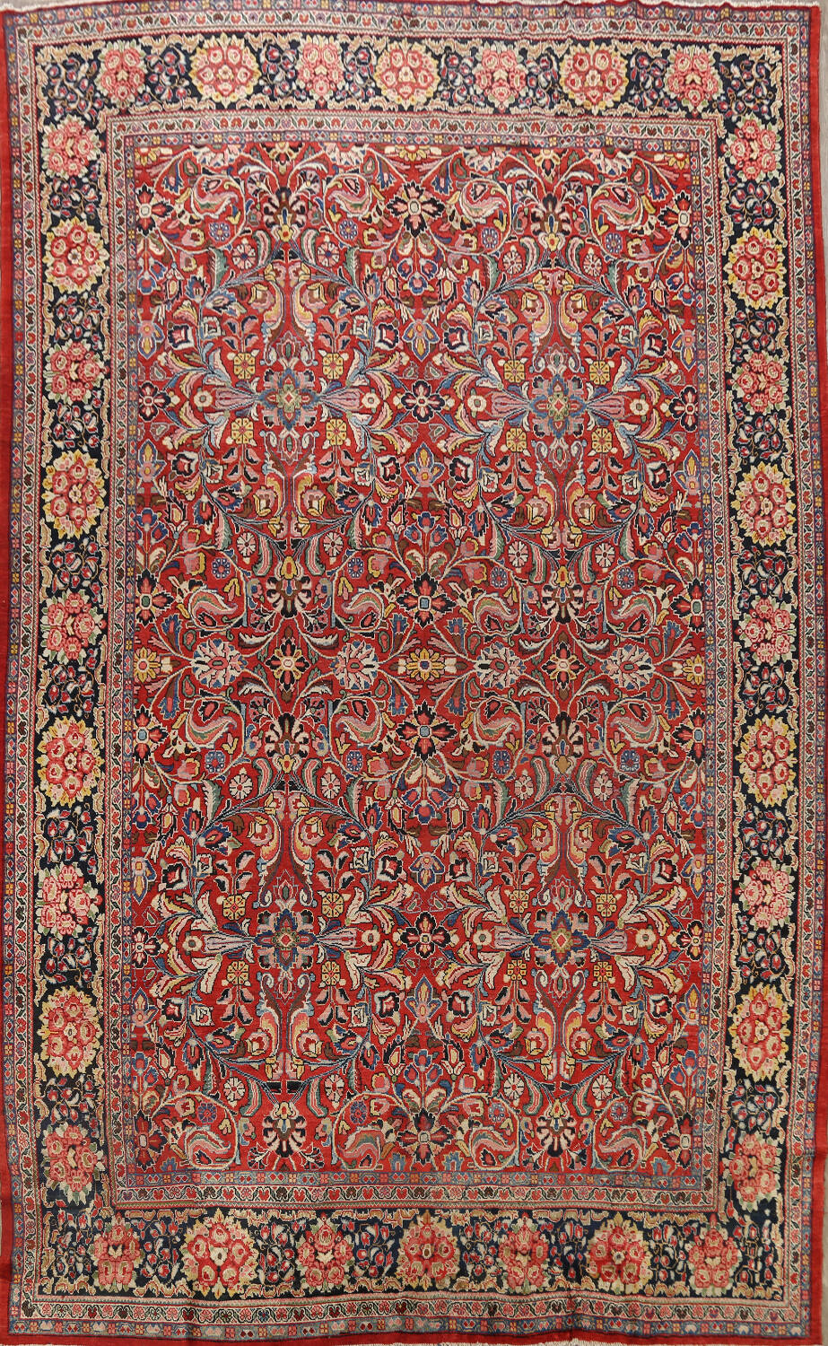 Antique Vegetable Dye Sultanabad Persian Area Rug 10x14 image 1