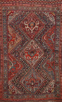 Pre-1900 Antique Qashqai Persian Area Rug 5x7